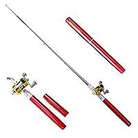 釣り道具セット ペンミニフィッシングロッド、携帯用伸縮式ポケットアルミ合金釣り竿ポールリール160cm 最高の贈り物 (Color : RED, Size : 1.6M)