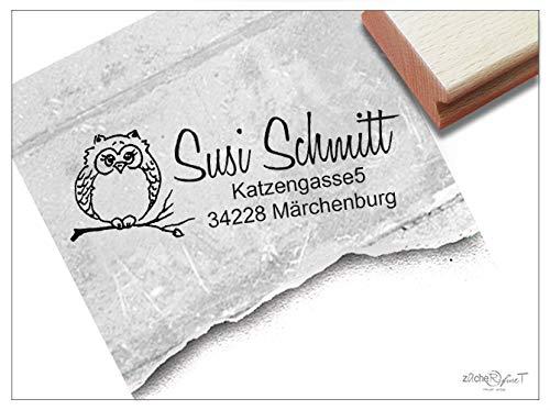 ZAcheR-fineT persoonlijke adresstempel, uil, familiestempel, gepersonaliseerd naam, adres dier, cadeau voor kinderen