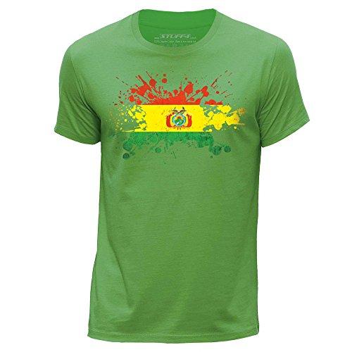 STUFF4 Uomo/Piccolo (S)/Verde/Girocollo T-Shirt/Bolivia Bandiera Splat
