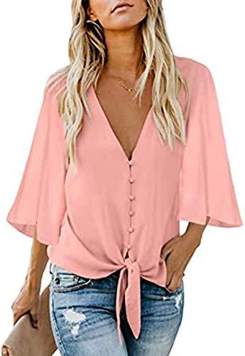 FIYOTE Oberteile Damen Bluse Elegant Hemdbluse Button Down Shirts Lose Langarm Tunika Tops mit Brusttaschen rosa XL
