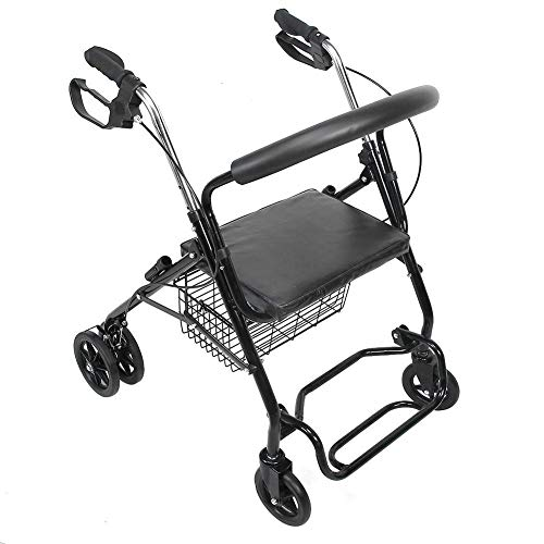GOTOTOP Andador para Ancianos Plegable, Andador Adultos de Acero con Asiento y Cesta, Andadores para Mayores, Carga 136kg ⭐