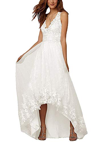 RYANTH Women's High Low V-Neck Beach Wedding Dresses for Bride Lace Appliques Tulle A-line Bridal Formal Gowns RWD63 Ivory Custom