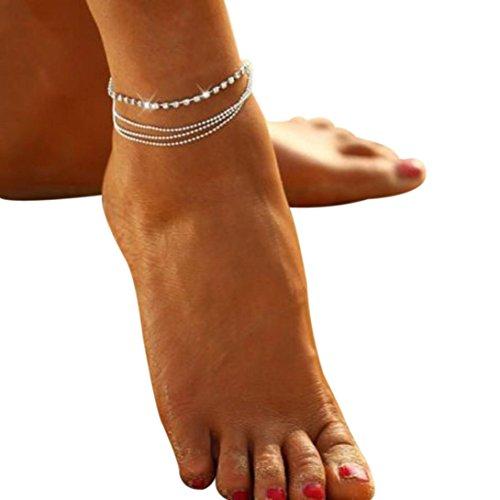 Tobillera de diamantes de imitación y perlas de cristal, plata, 15