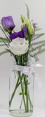 casavetro 12 x kleine Vasen Glasflaschen Deko inkl. Schleife Glasfläschchen Landhaus Vintage Vase Flasche Glas Mini Dekoflaschen