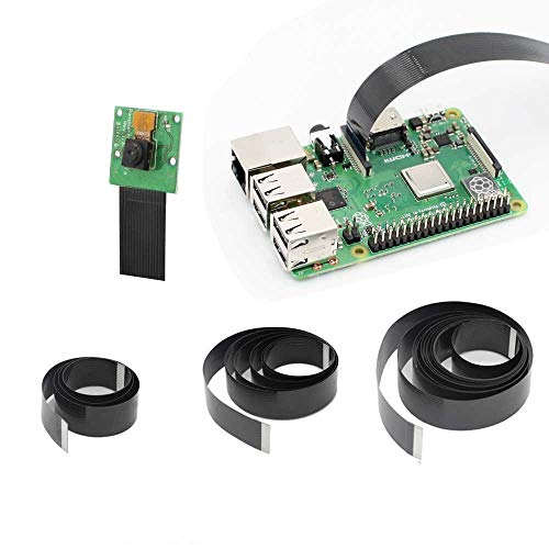 GeeekPi Raspberry Pi Camera Cable 15Pin Ribbon Flat Cable 1.0mm Pitch Flex Cable 50cm/100cm/200cm for Raspberry Pi 4B,3B+, 3B, 2B (Not for Pi Zero)(Pack of 3)