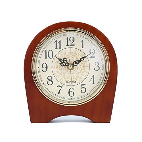 YQY Reloj de Mesa Retro de Madera, Madera Natural en marrón Oscuro, Reloj de Escritorio de la Pieza de pie para la Sala de Estar Dormitorio para el hogar Decoraciones de Escritorio de la Cama