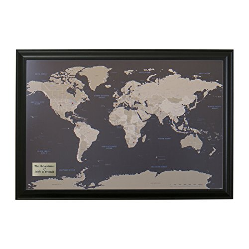 Push Pin Travel Maps Personalized Earth Toned World with Black Frame and Pins - 27.5 inches x 39.5 inches