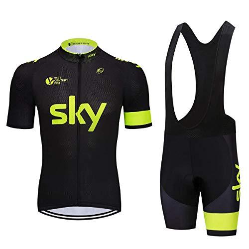 EIDKWTR Tute da bici da uomo con salopette da ciclismo per ciclismo di squadra, set di maglie da ciclismo estive da uomo (XL, SKYY)