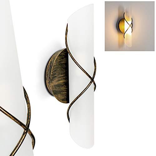 Wandlampe Palma, aus Metall/Glas in Gold/Braun/Weiß, moderne Wandleuchte mit Up & Down-Effekt, 1 x E14 max. 40 Watt, Innenwandleuchte mit Lichteffekt u. An-/ Ausschalter, geeignet für LED Leuchtmittel