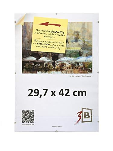 3-B Bilderrahmen: Set 5 STK. - Rahmenlose Bildhalter mit Polyesterglas - Cliprahmen 29,7x42 cm (A3). Sparpaket!