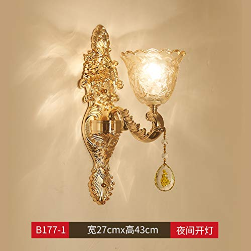 Agorl Lampe murale européenne cristal chambre lampe murale escalier extérieur lumière simple et double tête lit lampe de table, LT177 + tête simple