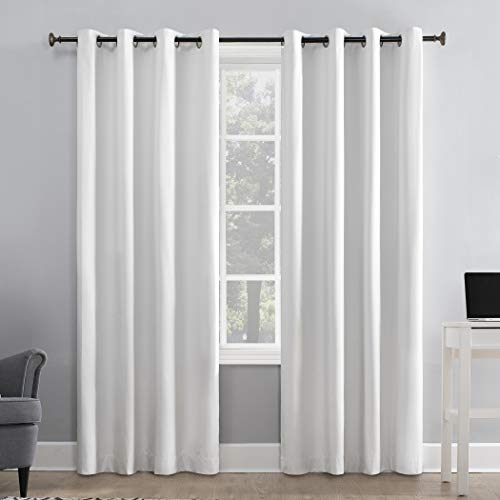 """Sun Zero Duran Thermal Insulated 100% Blackout Grommet Curtain Panel, 50"""" x 95"""", White"""