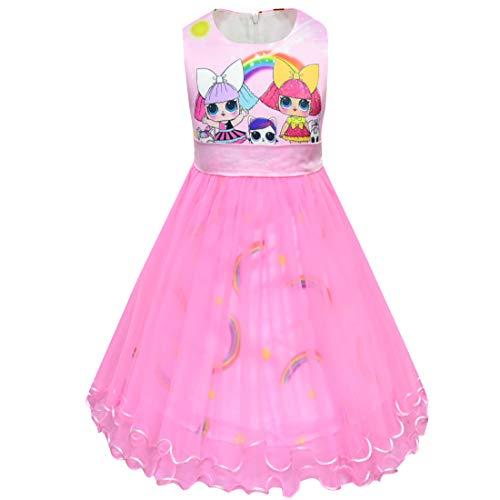 LOL Dress Clothing for Girls  Pink Princess Tulle Dress for Girls  LOL Birthday Princess Outfit  Surprise Dolls Princess Dress for...