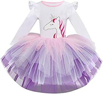 Luckycat Niña Vestido 2PCS Princesa Unicornio Disfraz Verano Cosplay Tutu Falda Arco Iris Fiesta Carnaval Bautizo Cumpleaños Comunión Boda Flor Niñas Dama de Honor Velada Navidad Actuación Ceremonia
