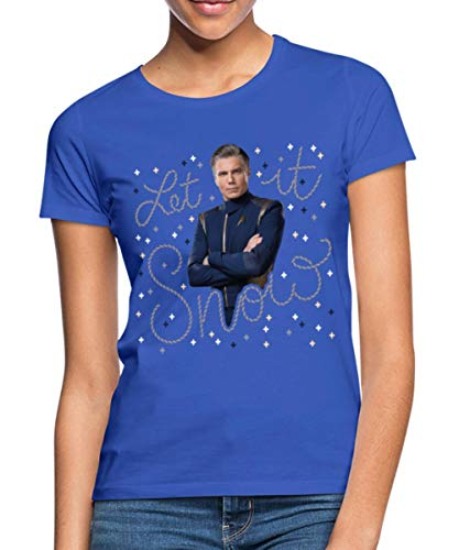 Spreadshirt Star Trek X-Mas Let It Snow Chandail De Noël Moche Ugly Christmas Sweater T-Shirt Femme, S, Bleu Royal