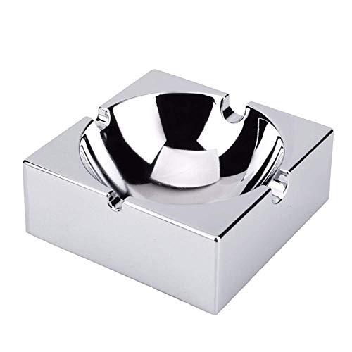 WYYAF Spiegel metalen asbak, vierkante Europese stijl as, creatieve kunst asbak, woonkamer/vitrine, praktische mode mannen geschenk, 10 * 4cm