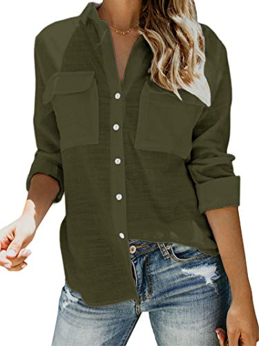 Womens Button Down V Neck Shirts Long Sleeve Blouse Roll Up Cuffed Sleeve Casual Work Plain Tops with Pockets (Large, Army Green)