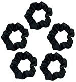 Kitsch Pro Satin Scrunchies, Softer than Silk, Hair Scrunchies for Frizz Prevention, Satin Hair Ties for Breakage Prevention and Gentle Style Preservation, Sleep and Night Scrunchie, 5 Pack, Black