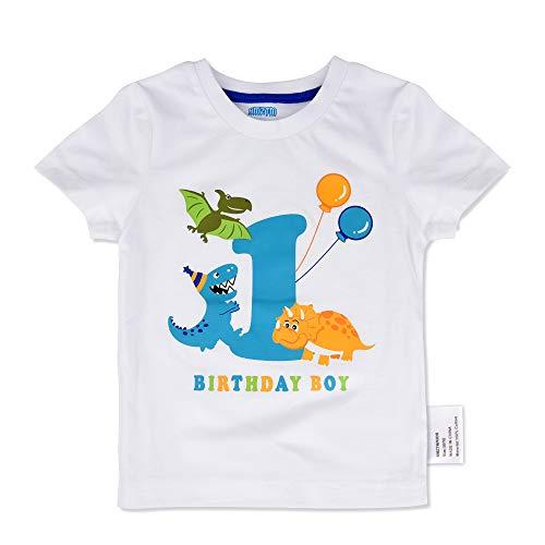AMZTM Baby Dinosaurier Geburtstag Shirt - 1. Dino Party Jungen Geburtstag T-Shirt Kinder Baumwolle Kurzarm Weiß T-Rex Gedruckt Top Bekleidung