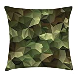 Bgejkos Kissenbezug Dekokissen Kissenbezug, Geometric Fractal Shapes Triangles Camouflage...