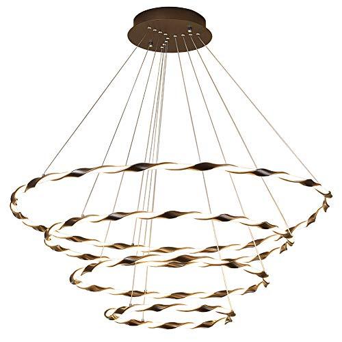 Xiqan Luces Colgantes LED, lámpara de araña Regulable de 3 Colores, lámpara de Techo Ajustable con Control Remoto de 4 Anillos (110-240V)