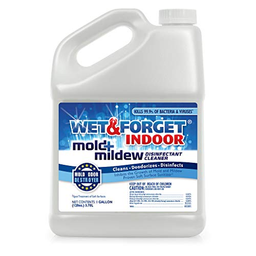 Wet & Forget Indoor Mold and Mildew All Purpose Cleaner- Deodorizes, Disinfects, Kills 99.9% of Bacteria and Viruses, 1 Gallon Refill
