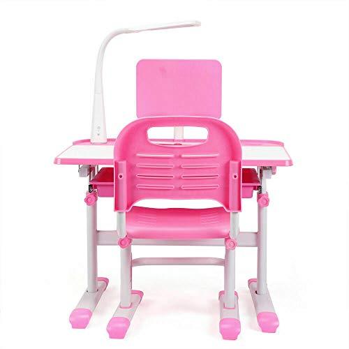 Juego de mesa y sillas ajustables en color rosa, mesa ergonómica y silla para niños, altura regulable, con lámpara LED de protección para los ojos para niñas y niños