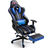 WQSLHX Blue Gaming Chair with Massage and Footrest, Swivel Reclinable Gamer Chair with Armrest, Height Adjustable Computer Chair, Racing Style Video Game Chair for Adults