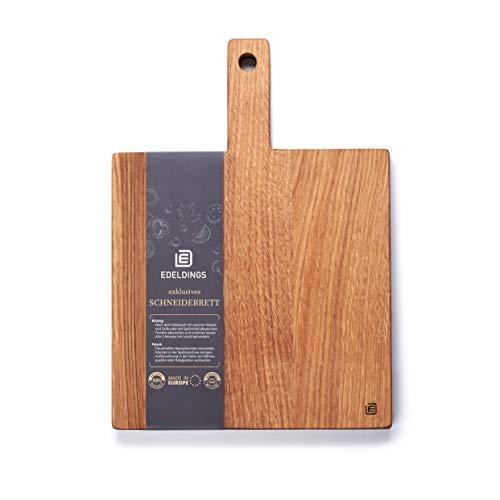 Edeldings Schneidebrett Holz aus geöltem Eichenholz mit Griff | Groß 25 х 25 cm | Massivholz Küchenbrett aus Europa | Antibakterielles Holzschneidebrett, Holzbrett aus massiver Eiche