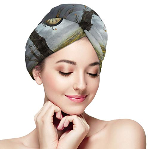 Time Fantasy Rainstorm Horologe Tree Dry Hair Cap Microfibre Hair Towel Wraps Ultra Absorbent Quick Dry Twist Turban with Button for Drying Curly Long