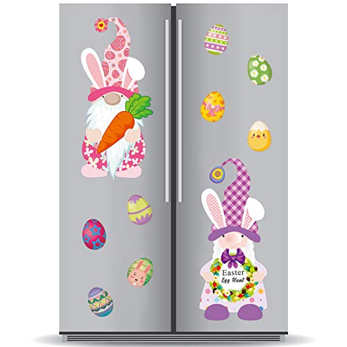33 Pieces Easter Gnomes Reflective Car Refrigerator Magnet Set Novelty Easter Eggs Magnet for Automotive Car Fridge Decorations Magnetic Accessories Holiday Decor 10 Designs