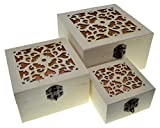 3 scatole quadrate Scatole di nidificazione Cassa del tesoro (Confezione da 3) Scatola del tesoro in legno Vintage ▾ Deposito decorativo Artigianato in legno Regalo Scatole di legno