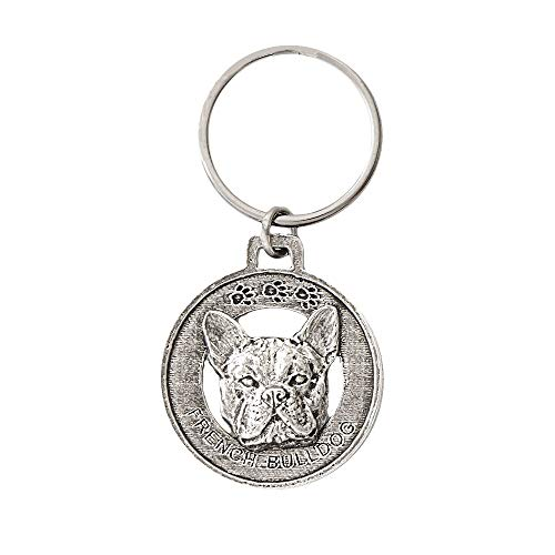 French Bulldog, D082KC, Pewter Key Chain, Key Fob, Key Ring, Gift, Handmade in the USA, Antiqued Pewter