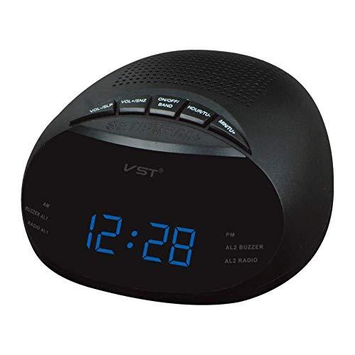 Reloj Alarma Digital Led Reloj de Mesa con Radio Am y FM Canal de Radio múltiple Despertador, 13.5 * 6.5 * 13.5 cm Reloj Despertador (Color : Blue, Size : 13.5 * 6.5 * 13.5 cm)