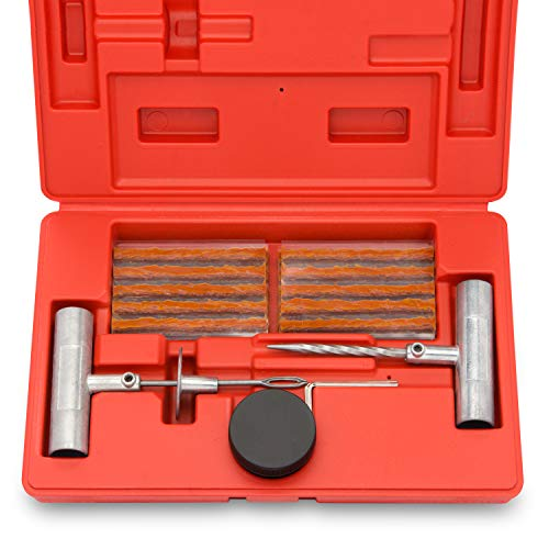 Tooluxe 50002L Universal Tire Repair Kit to Fix Punctures and Plug Flats, 35-Piece Value Pack, Ideal for Cars, Trucks, Motorcycles, ATV