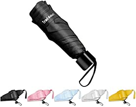 TradMall Mini Travel Umbrella, 6 Ribs Portable Lightweight Compact Parasol with 99% UV Protection for Sun & Rain, Black