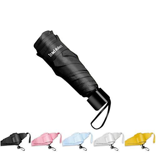 TradMall Mini Travel Umbrella, Portable Lightweight Compact Parasol with 95% UV Protection for Sun & Rain, Black