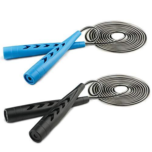 Fengzio Springseil Kinder 2 Stück Springseil Speed Rope Jump Rope mit Tasche und Anti-Rutsch Griffen Springseile Für Workout Fitness Seilspringen - Schwarz und Blau