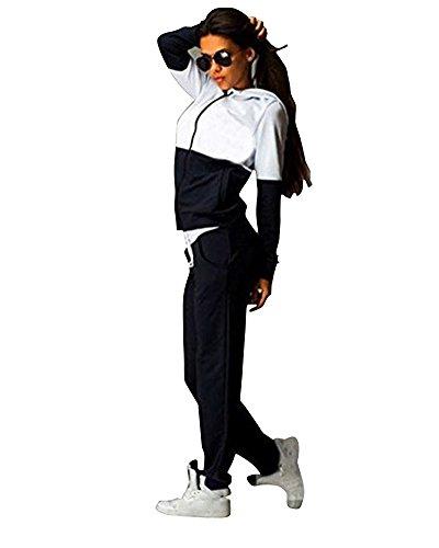 PengGeng Damen Elegant Trainingsanzug Zip Hoodie Sweatshirt Anzug Mit Hose 2Pcs Jogginganzug Sportanzug Schwarz M