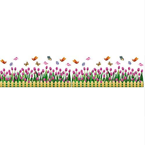 Pmhhc Tulpen Venster Sticker Vinyl Bloem Baseboard Rokken Bloemetjes voor Woonkamer Glas Raam Decoratie Adesivos