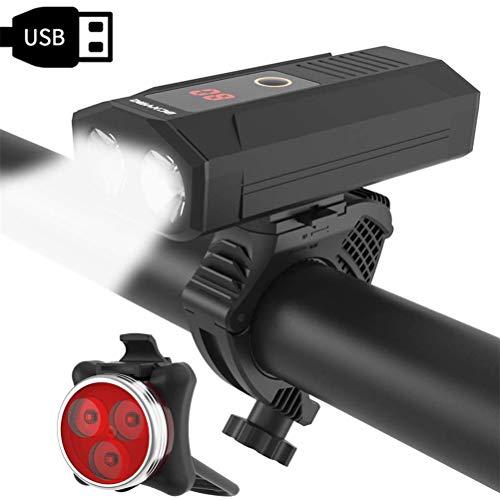 CNAJOI-TDFY USB wiederaufladbares Fahrradlicht-Set, 1200 Lumen Fahrradbeleuchtung mit 5200 mAh Powerbank, 5 Lichtmodi, Fahrradlicht wasserdicht IP65 + Rücklicht