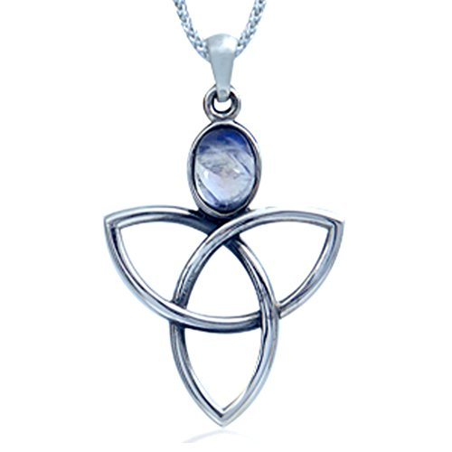 Silvershake Natural Moonstone 925 Sterling Silver Triquetra Celtic Knot Pendant