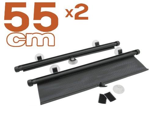 myshopx Sonnenschutz Sonnenrollo Sonnenschutzrollo schwarz 2er-Set 55cm für Seitenscheibe