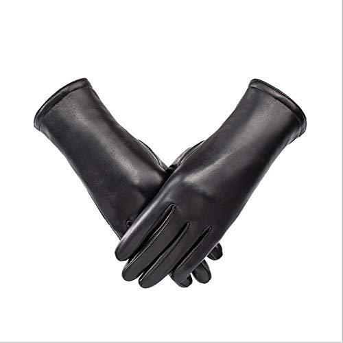 QWC Damen Winter Lederhandschuhe Winddichte und warme Ziegenlederhandschuhe Verdickte kaltfeste Split Fingerhandschuhe Geeignet zum Fahren von Motorrädern und Skifahren (Schwarz)