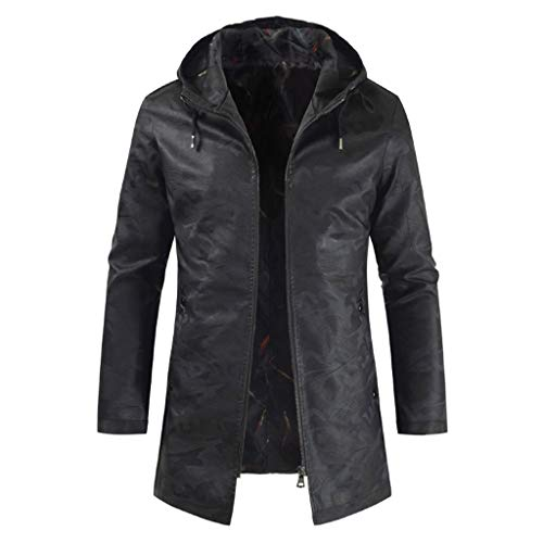 Pandaie Hooded Leather Jacket for Men Casual Solid Color Long Zip Motorcycle Jacket Slim Fit Trench Coat Overcoat Black