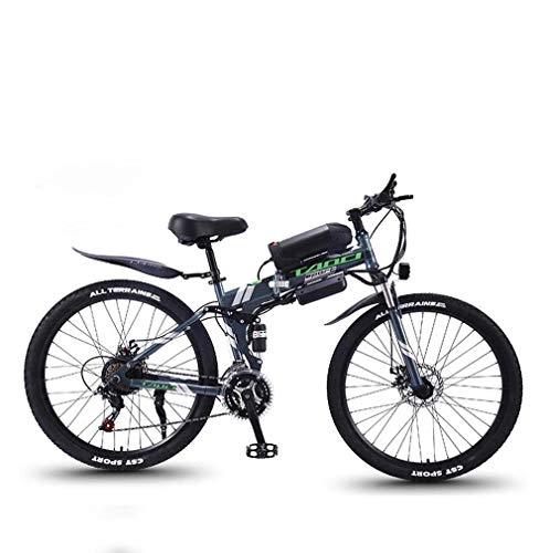AISHFP Mountain Bike elettrica Pieghevole per Adulti, Bici da Neve 350W, Batteria Rimovibile agli ioni di Litio 36V 10AH per, 26 Pollici a Sospensione Completa Premium,Grigio,21 Speed