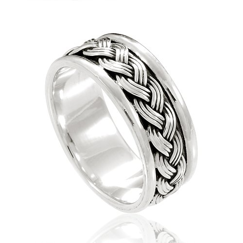 Chuvora 925 Sterling Silver 8 mm Braided Woven Wave Celtic Band Ring - Nickle Free Size 7