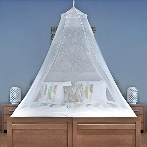 Universal Backpackers Mosquito Net for Single to King-Sized Beds – Fully-Enclosed Bed Canopy for Travel or Decoration – Free Bag, Hanging Kit & Adhesive Ceiling Hooks for Easy Setup