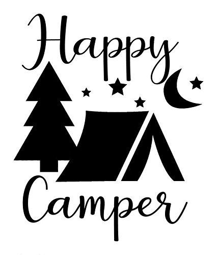 Creative Concept Ideas Happy Camper Tent Trees Stary Night CCI Decal Vinyl Sticker|Cars Trucks Vans Walls Laptop|Black |5.5 x 4.5 in|CCI1705