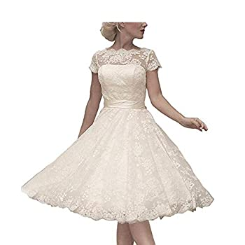 Abaowedding Women s Floral Lace Knee-Length Short Wedding Dress Bridal Gown Size 12 Ivory